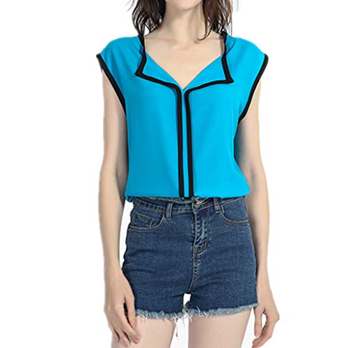 FEDULK Womens Sleeveless Shirts Vest V Neck Casual Chiffon Tank Tops Loose Casual Blouse(Sky Blue, X-Large)