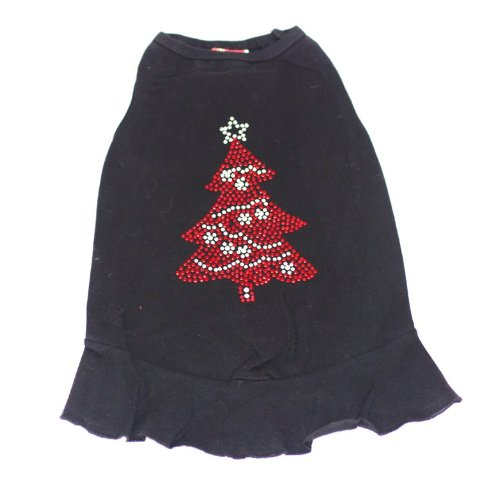 Cheap The Dog Squad Huge Red Tree Dress Christmas T-Shirt for Pets, Medium, Black