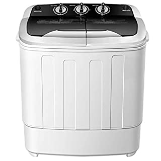 Portable Washing Machine,Safeplus Compact Mini Twin Tub Versatile Washer and spin Dryer with 8 lbs Washing &5 lbs Spin Dryer Load Cappacity Gravity Drain Pump and Drain Hose for apartments (Black)