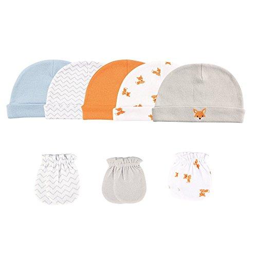 Price comparison product image Luvable Friends 5-Pack Cap and 3-Pack Scratch Mitten Set,  Fox