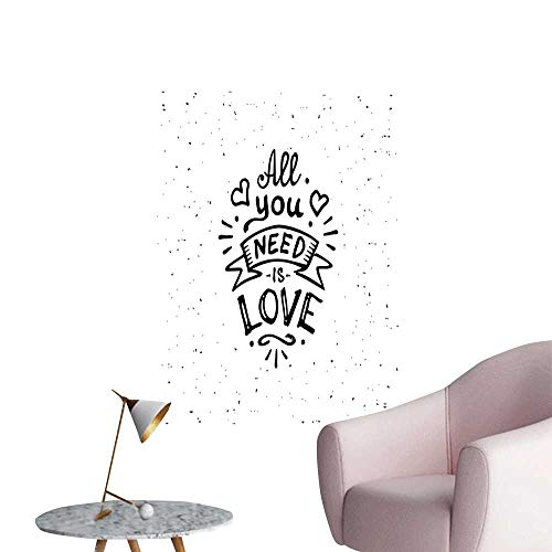 Love Wall Mural Wallpaper Stickers Vintage Style All You Need is Love Inscription Retro Hippie Phrase with Grunge Look Removable Kitchen Black White W8 x H10 -