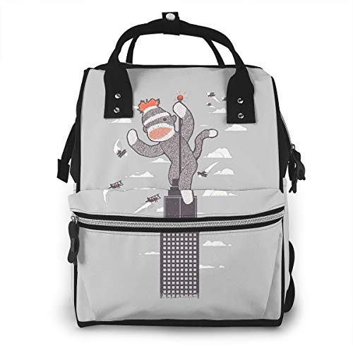 Sock Monkey Just Wants A Friend Diaper Bag Backpack,Multi-Function Travel Backpack Nappy Bag,Nurse Bag,Fashion Mummy Bag,Waterproof for Baby Care,Stylish and Durable