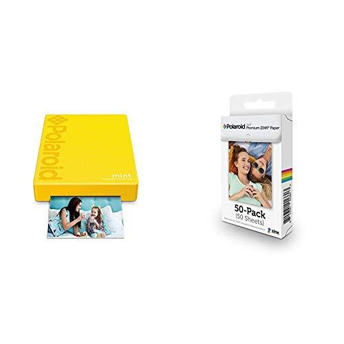 Polaroid Mint Pocket Printer - Yellow with with Polaroid 2x3ʺ Premium Zink Zero Photo Paper 50-Pack
