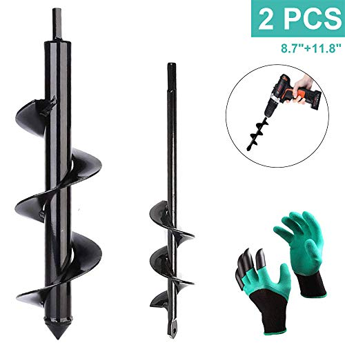 Dirt Auger Drill Bit Set Attachment, 2 PCS Garden Spiral Planting Hole Tulip Bulb Auger for Planter Tree Hand Cordless Drill Soil Posthole Digging Holes (11.8