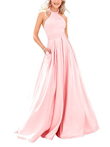 Beauty Dresses Womens Prom Bridal High Neck Beaded Pink Baby Long Dresses Party Evening Satin rxaZrYwCq
