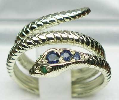 925 Sterling Silver Natural Sapphire and Emerald Womens Promise Ring - Size 7.5