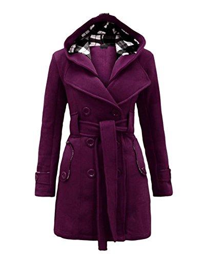 Outwear Trench Femme Chaud Violet Longue Manche Boutonnage Coat DianShao Manteau Chaud Double vaf5nqwgw