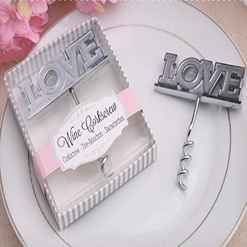 (Keychain Wine Opener With New Design 2019, 12pcs/lot Wine Corkscrew Wedding Party Giveaway Silver Love - Wine Opener Key Chain, Wedding Reception Favors, Wedding Favors For)