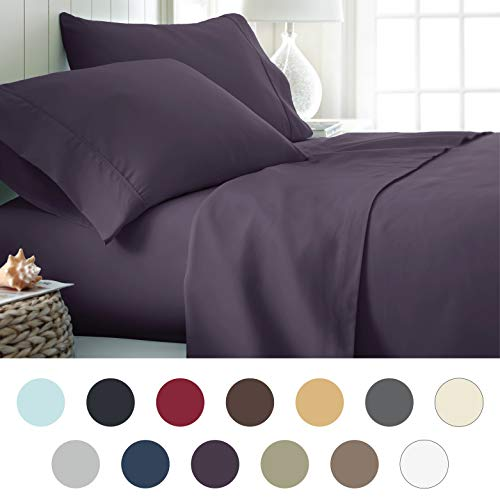 - ienjoy Home Hotel Collection Luxury Soft Brushed Bed Sheet Set, Hypoallergenic, Deep Pocket, Full, Purple