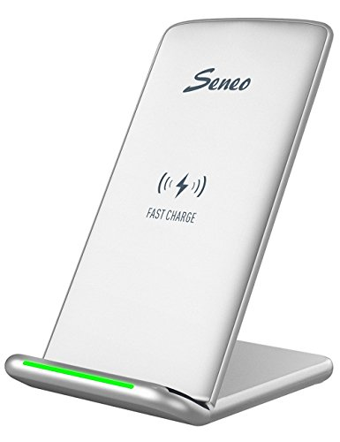 Wireless Charger, Seneo iPhone X Wireless Charger, Fast Wireless Charging Pad Stand for Galaxy Note 8/5 S8/S8+ S7/S7 Edge S6 Edge Plus, Standard Charge for Galaxy S9 S9+ iPhone X 8 8Plus-NO AC Adapter