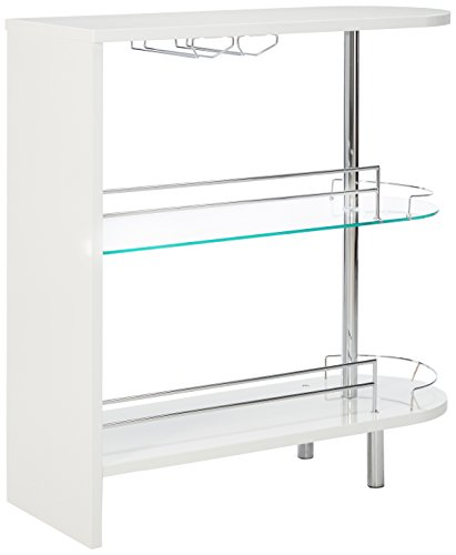 Coaster Home Furnishings Modern Game Room Bar Pub Table with Clear Tempered Glass Shelf Stemware Rack Wine Storage, White High Gloss