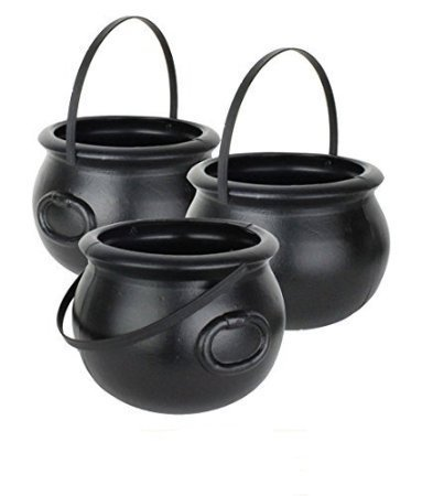 Amazon.com: Halloween Cauldron 8 Inch Black Plastic Party ...