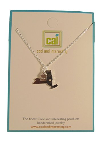 Cool and Interesting Handcrafted New York State Necklace, 17 (Silvertone) (New York State Necklace compare prices)
