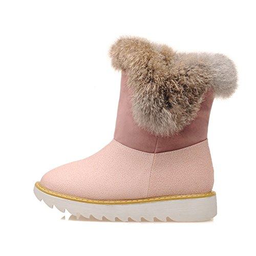Mode Hak Dames Ronde Neus Plat Hak Konijnenbont Sneeuw Laars Roze
