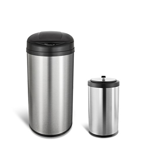 Ninestars CB-DZT-49-812-18 Automatic Touchless Motion Sensor Round Trash Can Combo Set, 13.2 Gal. 50 L. & 3.2 Gal. 12 L, Stainless Steel -