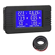 AC Digital Meter, DROK Current Voltage Amperage Power Energy Frequency Factor Multimeter AC 80?260V 100A LCD Digital Display Voltmeter Ammeter 220V 110V Monitor Detector with Current Transformer CT