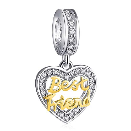 Best Friend Heart Bracelet Charms for Women - 925 Sterling Silver Dangle/Dangling Pendants/Beads - Fit Pandora Charm Bracelets, Necklaces, European Snake Chains - Birthday/Thanksgiving Gifts.