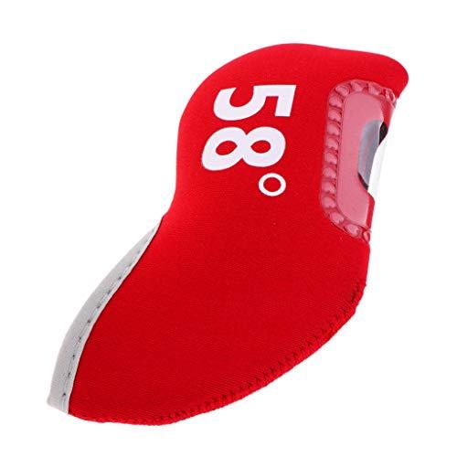 不満違法バッジIPOTCH 柔軟性 ゴルフクラブアイアンパターヘッドカバー プロテクター 全3色7タイプ - 赤, 58度