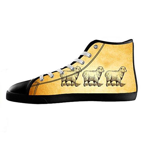 Sopra Di In Le Scarpe Custom Tela Men's Shoes Lacci Delle Canvas Reticolo Alto I Da Ginnastica Pecore HE2DW9I