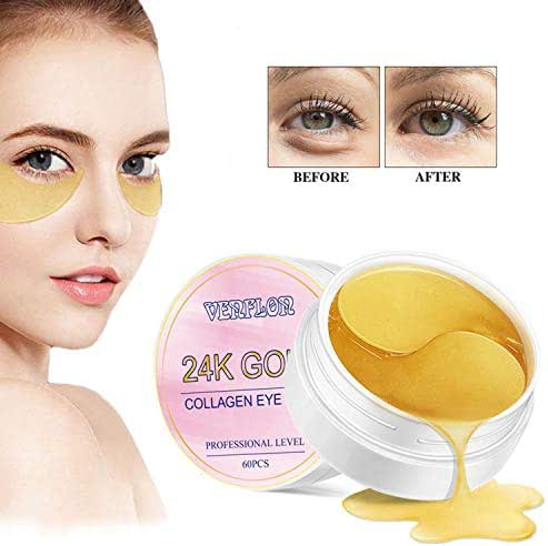 Eye Mask 24k Gold Moisturizing ,Natural Reducing Dark Circles Puffiness Wrinkles,Anti-Aging Eye Pads Vibrant Collagen(60 PCS)