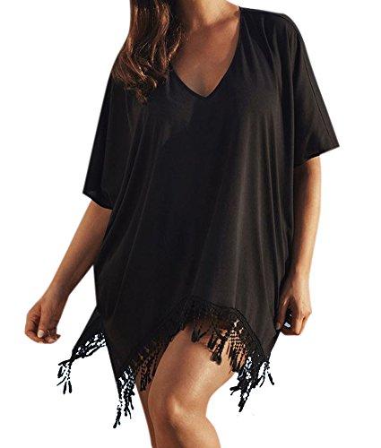 Creabygirls® Womens Sexy Tassel Beach Bikini Swimwear Cover Up Beach Dress (XX-Large, Black)