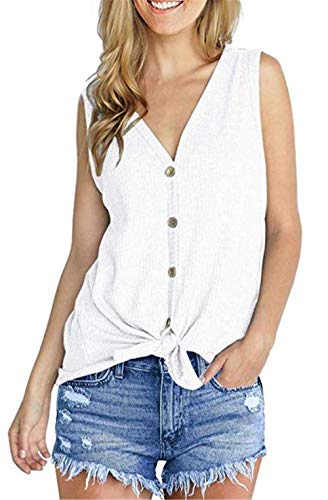 UGET Womens Loose Blouse Sleeveless V Neck Button Down T Shirts Tie Front Knot Casual Summer Tops Asia L White