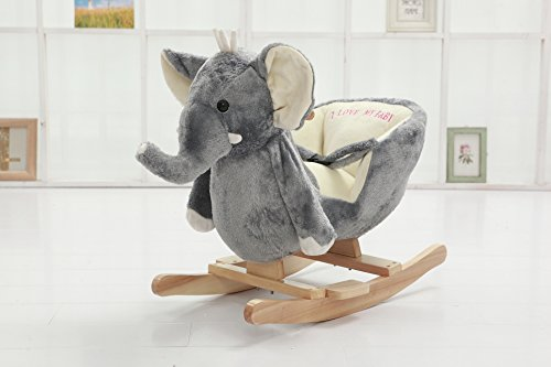 DanyBaby Rocking Animal Ride On Rocking Plush Elephant Chair-ASTM Safety Approved by DanyBaby