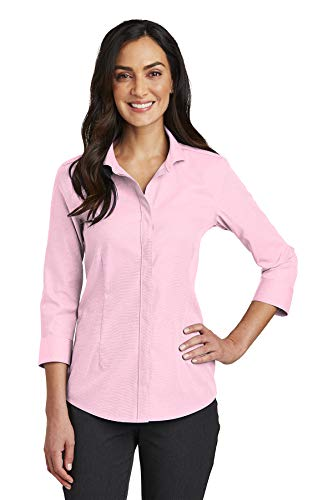 Red House Womens 3/4-Sleeve Nailhead Non-Iron Shirt (RH690) -Pink - Nailhead 3/4 Sleeve
