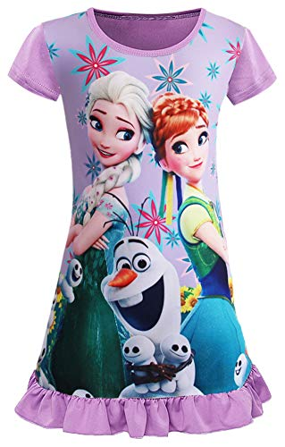 (WNQY Little Girls Princess Anna Pajamas Toddler Elsa Nightgown Dress (150/7-8Y, Purple))