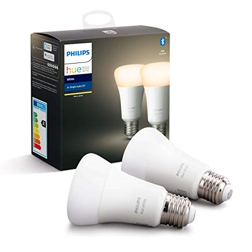 Philips Hue Standaard Lamp 2-Pack – E27 – Duurzame LED Verlichting – Warmwit Licht – Dimbaar – Verbind met Bluetooth of…