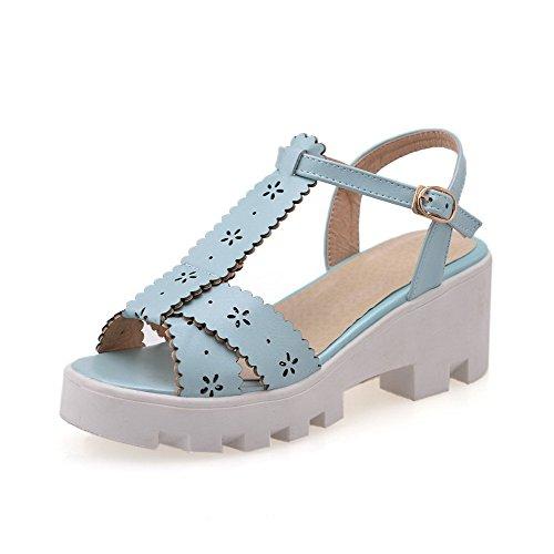 Amoonyfashion Femme Orteil Ouvert Chaton-talons Matériau Souple Boucle Solide Cales-sandales Bleu