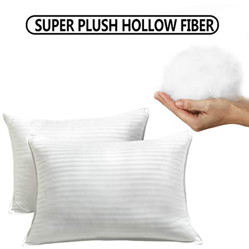 EDILLY Premium Bed Pillows for Sleeping/Luxury Plush Gel Pillow (Pack of 2), Hypoallergenic, 100% Breathable Cotton Cover Skin-Friendly Soft Density-Queen Size, White