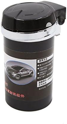 uxcell 車の灰皿 ブラック シリンダー 形 ブルー LED ライト シガレット 灰 ホルダー カップ