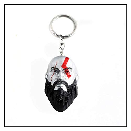 In Box RJ 2018 Hot Game God Of War 4 Keychains 3D Kratos Face Mask Keyring Kui Ye Axe Hammer Knife Weapons Model Men Cosplay Car -