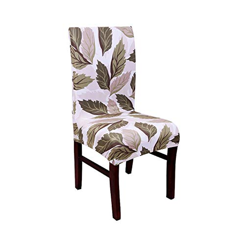 Asteria-Ashley Tropical Leaf Printed Chair Cover Flower Spandex Stretch Protector Chair Case Seat Slipcover for Dining Office,1,Universal