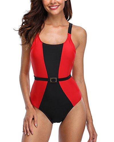 anfilia Women Tummy Control One Piece Swimsuit Splice Backlesss Monokini Swimwear
