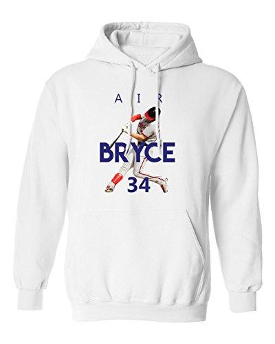 Bryce Harper Washington AIR Men's Hoodie Sweatshirt (White,M)