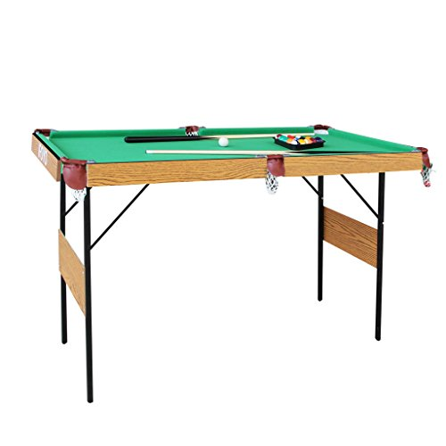 IFOYO Billiard Table, 55 Inch Folding Pool Table Steady Pool Game Table Modern Space Saving Billiard Table Game for Kids and Adults with Cues, Ball, Chalk, Rack, Brush Included, Green, Christams Gift