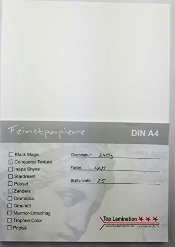 25 Blatt DIN A4 Papier weiß 240g/m² von Top Lamination bedruckbares dickes Papier