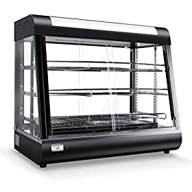 DELLA Commercial Stainless Steel Electric Food Display Warmer 3 Tier Desserts Cake Buffet Serving Trays, Black