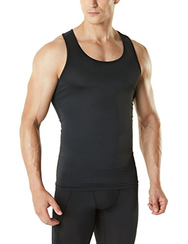 Mens Sleeveless Compression Shirt - Tesla TM-MUN04-BLK_X-Large Men's Sleeveless Muscle Tank Top Cool Dry Compression Baselayer MUN04
