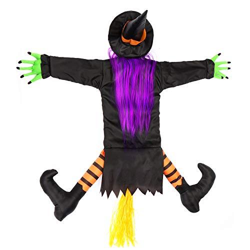 AYOGU1 Classic Crashing Witch, Hanging Halloween Decor Crashed Witch Outdoor Halloween Decorations