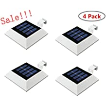 4PACK Falove Solar Powered Waterproof Outdoor Light,4 LED Solar Gutter Lights for Outdoor Garden, Fence, Dog House, Tree, Outside Garage Door, Wall, Stairs Anywhere Safety Lite with Bracket