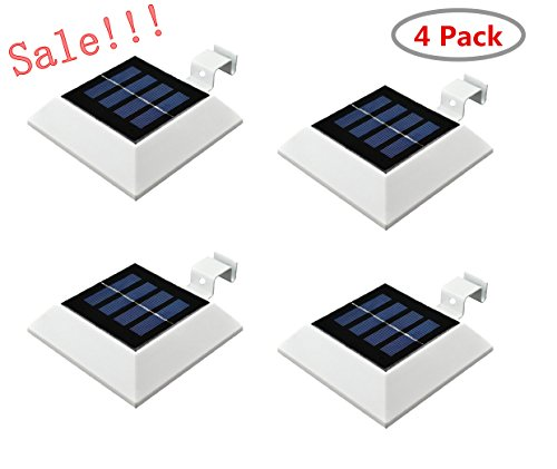Price comparison product image 4PACK Falove Solar Powered Waterproof Outdoor Light, 4 LED Solar Gutter Lights for Outdoor Garden,  Fence,  Dog House,  Tree,  Outside Garage Door,  Wall,  Stairs Anywhere Safety Lite with Bracket
