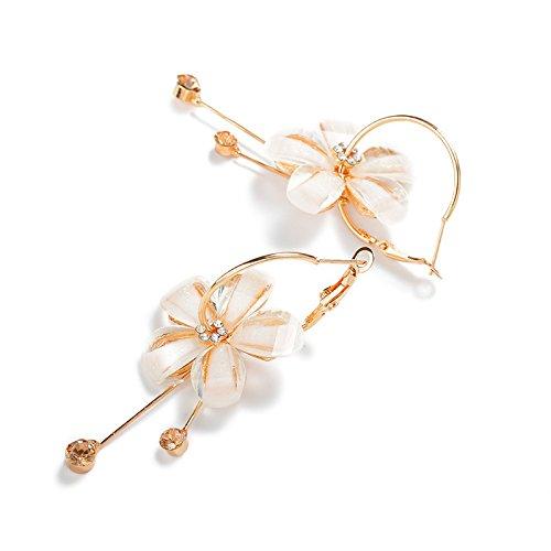 Charm White Flower Gold Circle Hoop Earrings for Women Girls