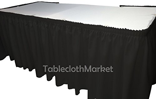 21' Black Polyester Pleated Table Skirt Skirting with Loop fastener Trade Show Wedding Black