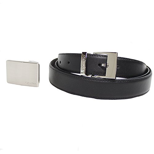 Calvin Klein Mens Leather Reversible Belt Accessory Set - 3 Piece (Black/Brown)