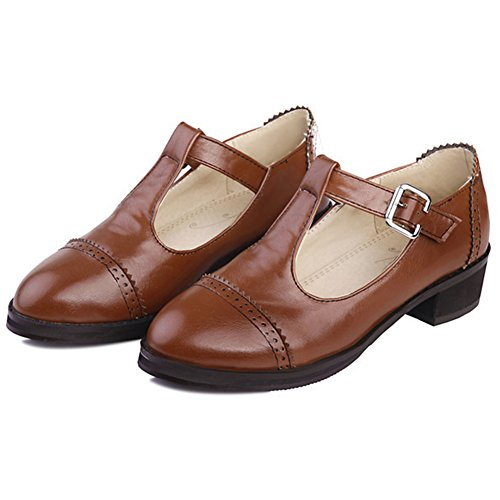 Summerwhisper Women's Trendy Pointed Toe Buckle T-Strap Low Top Oxfords Sandals Mid Heel Brogues Work Shoes Brown 8.5 B(M) US