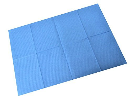 Waterproof Dental Bibs - 2-Ply Tissue + Poly Backing - Patient Bibs/Tattoo Bibs 13x18, (125) Blue