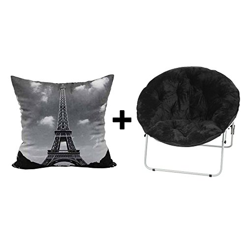 Saucer Fur-Faux Over sized Folding Chair in Black + Throw Pillow Black/Silver - Bundle Set by